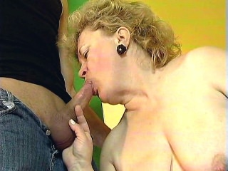 Fat Mature golden haired girl Sucking Off a Cock