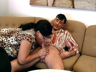 Chubby Mature Guzzles Dick