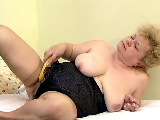 Jenna has been very hungry these days – hungry for some huge hard cock in her hairy hole. So when she sees a banana, she gets some naughty idea and start rubbing it on her juicy jugs before licking it all off.